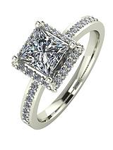 9ct White Gold 1.55 Carat Square Solitaire Moissanite Ring