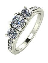 9ct White Gold 1.10ct Trilogy Ring with Moissanite Set Shoulders