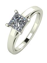 Premium Collection 9 Carat White Gold, 1.05 Carat Princess Cut Solitaire Ring