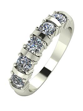 Moissanite 9 Carat White Gold, 1 Carat Moissanite Bar Set 5 Stone Eternity Ring