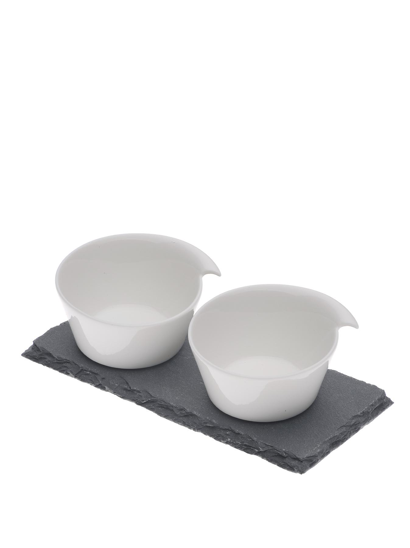 Arthur Price Kitchen Salt and Pepper Pinch Pots on a Slate Base