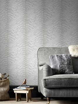 Graham & Brown Tiger-Look Wallpaper - White/Silver