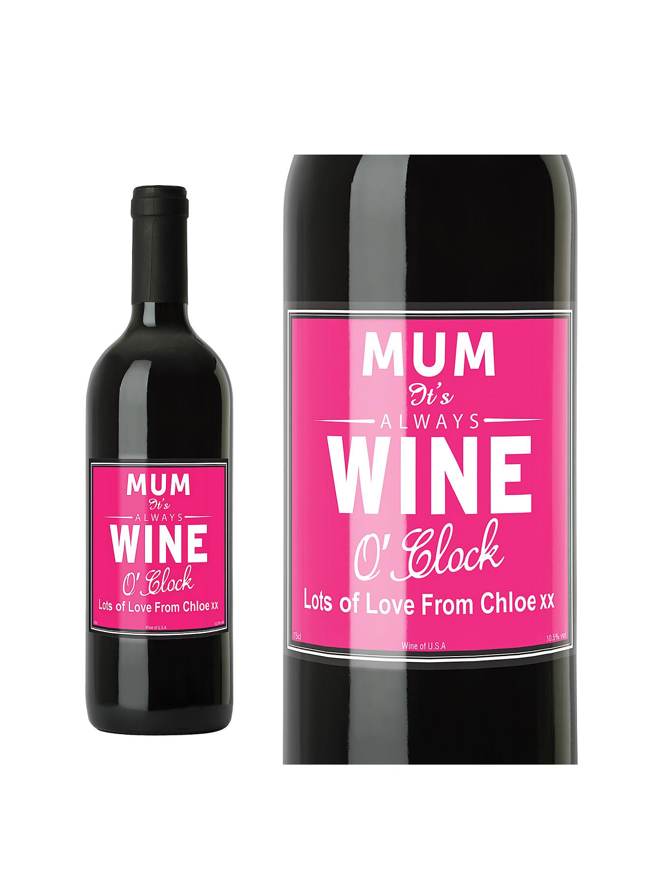 Personalised Wine O'Clock Wine with Options - Red, Red,White