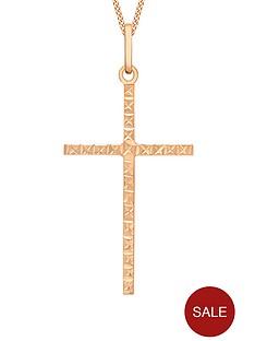 love-gold-9-carat-rose-gold-cross-pendant