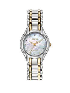 citizen-eco-drive-silhouette-diamond-two-tone-stainless-steel-bracelet-ladies-watch