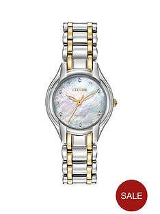 citizen-eco-drive-silhouette-diamond-two-tone-stainless-steel-bracelet-ladies-watch