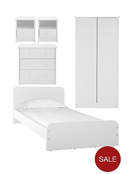 Marlow 5 Piece Kids Bedroom Furniture Package Wardrobe Bed 3 Drawer