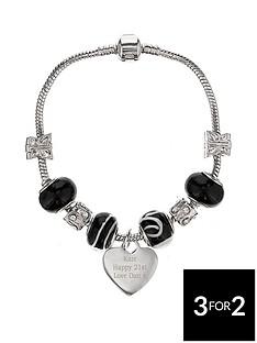 personalised-silver-tone-deep-black-charm-bracelet