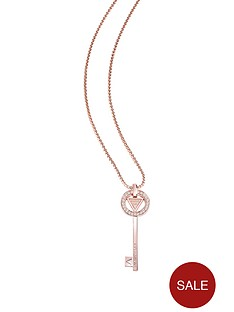guess-rose-gold-plated-crystal-key-charm-necklace