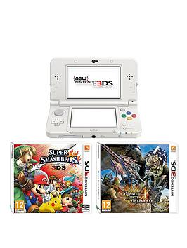 nintendo-3ds-new-white-console-with-monster-hunter-4-super-smash-bros-and-adaptor