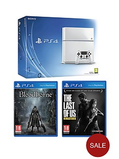 playstation-4-500gb-white-console-bloodborne-the-last-of-us-remastered-free-driveclub