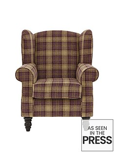 orkney-tartan-patterned-accent-wing-chair