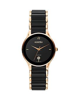 Roamer Swiss Made Ceraline Saphira Black Ceramic and Rose Gold Bracelet Ladies Watch