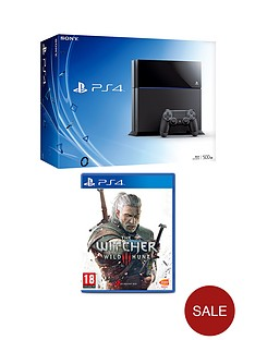 playstation-4-500gb-console-with-the-witcher-3-wild-hunt-and-optional-12-months-playstation-plus-or-extra-dualshock-4-controller