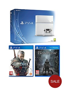 playstation-4-500gb-console-white-the-witcher-3-wild-hunt-free-bloodborne