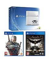 500Gb White Console with Batman Arkham Knight and the Witcher 3: Wild Hunt