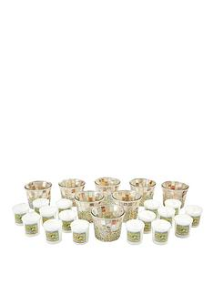 yankee-candle-wedding-season-votive-and-votive-holders-set-16-classic-votives-wedding-day-with-8-gold-and-pearl-crackle-votive-holders
