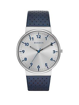 skagen-ancher-blue-perforated-leather-strap-mens-watch