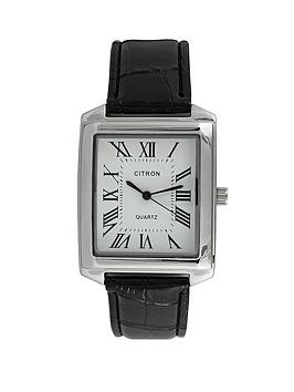 White Dial Black Strap Mens Watch