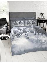 Galloping Horses Duvet Cover Set - Grey