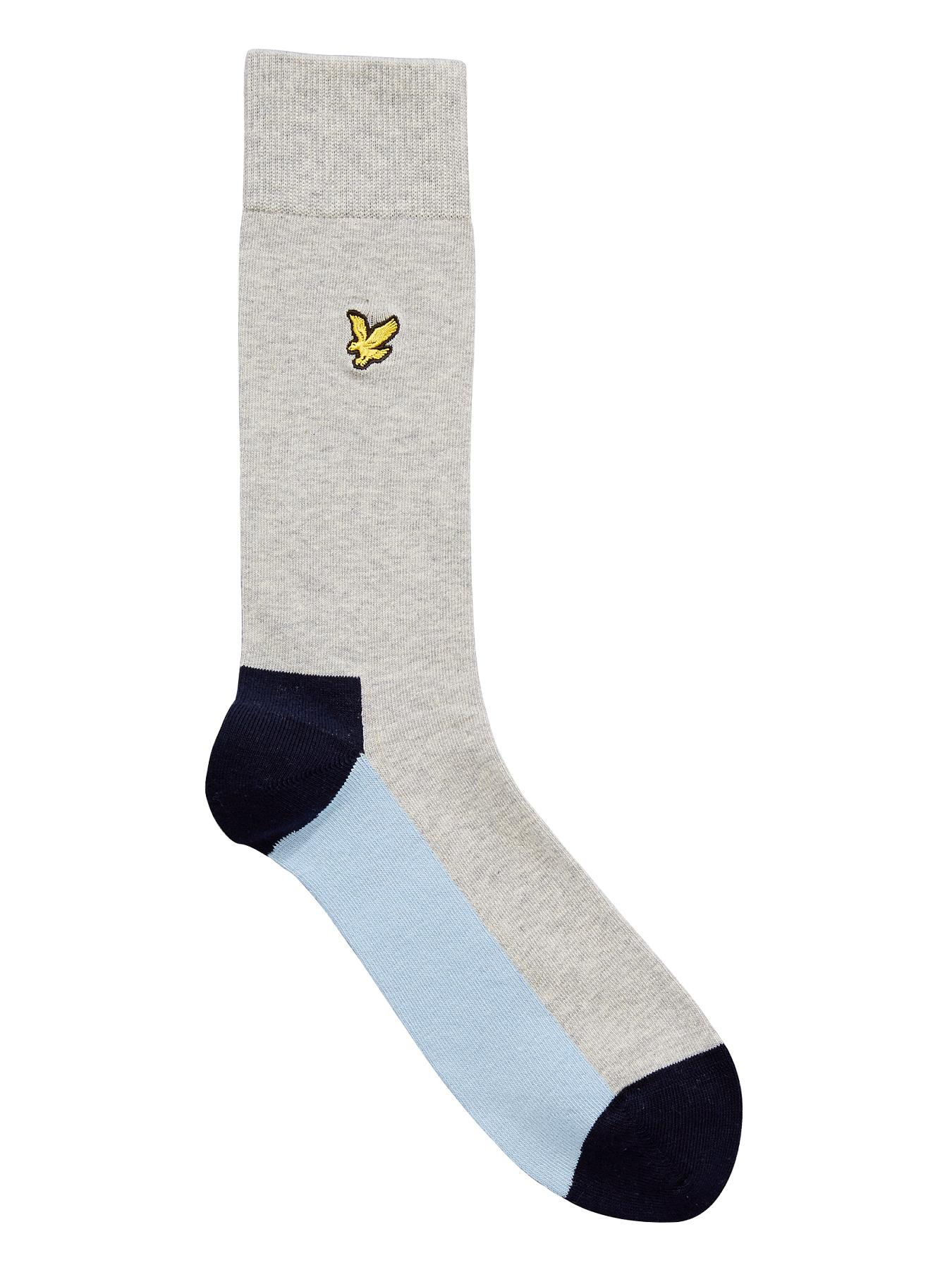 Lyle & Scott Mens Colour Block Socks - Grey, Grey