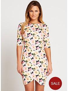 samantha-faiers-printed-three-quarter-length-sleeve-scuba-dress