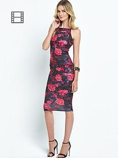 ax-paris-scuba-print-strappy-midi-dress