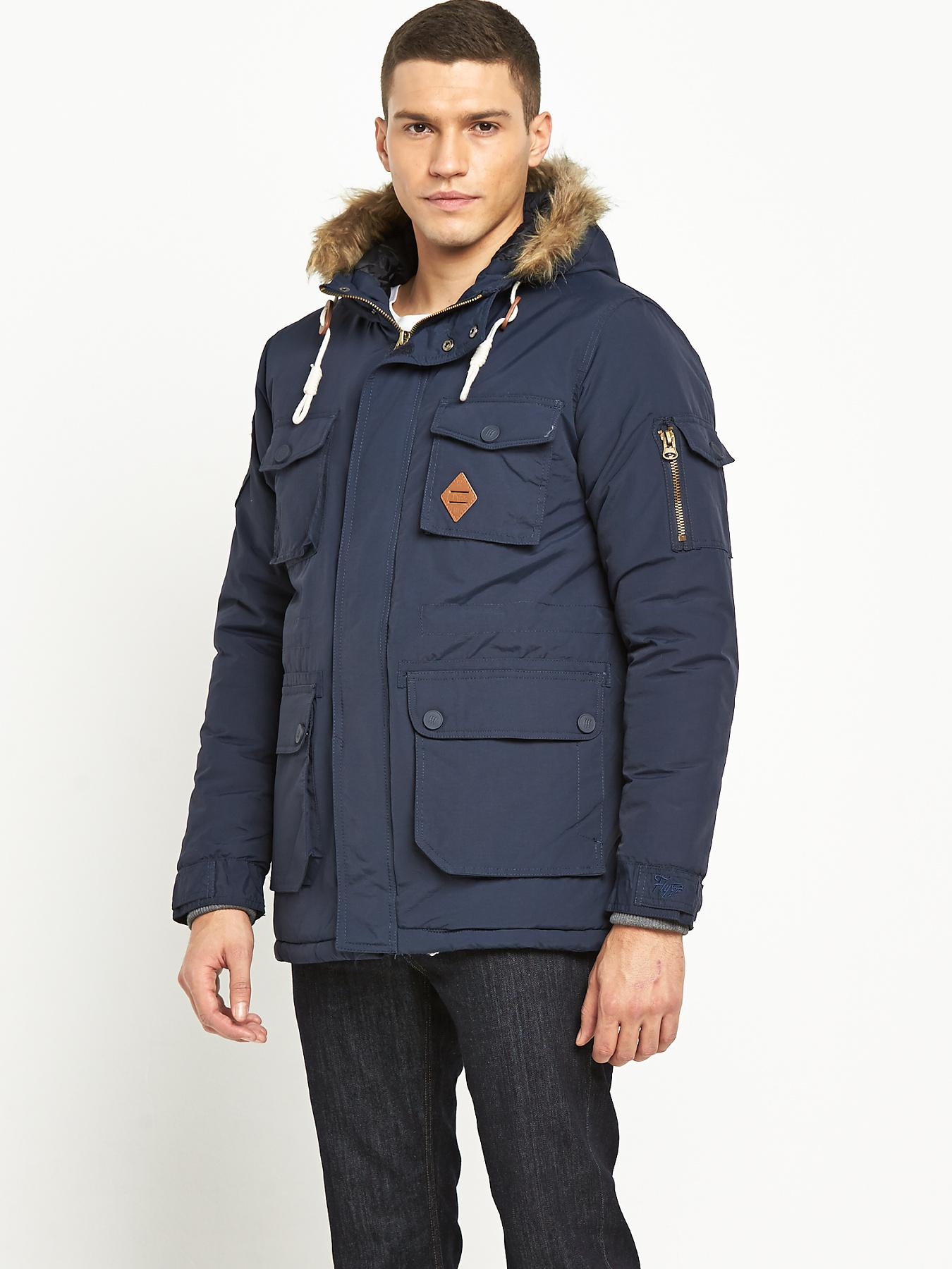 Fly53 Mens Winterton Parka - Navy, Navy