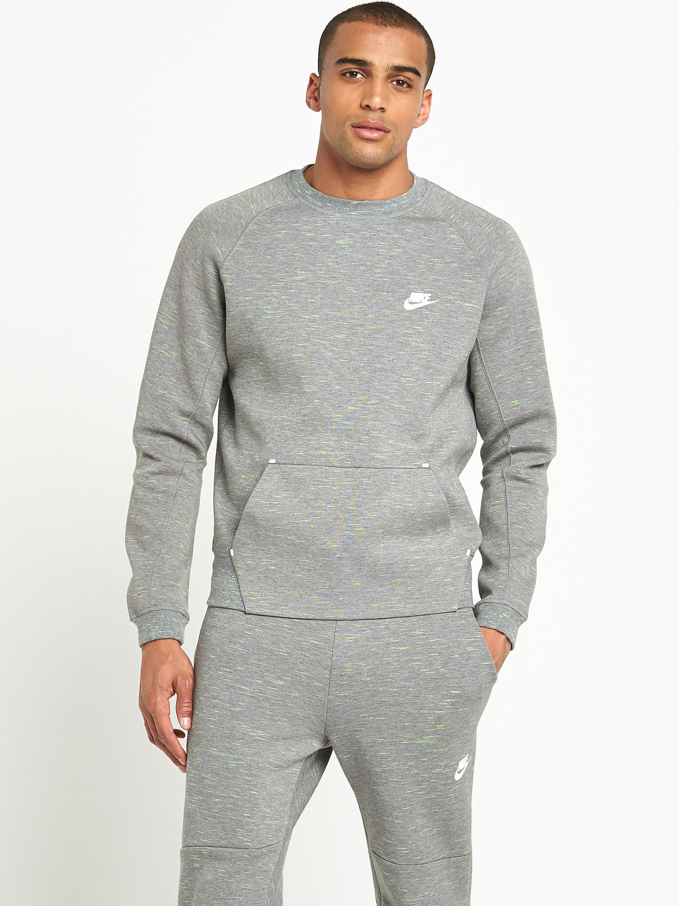 Nike Mens Tech Fleece Crew 1MM Sweatshirt - Grey, Grey