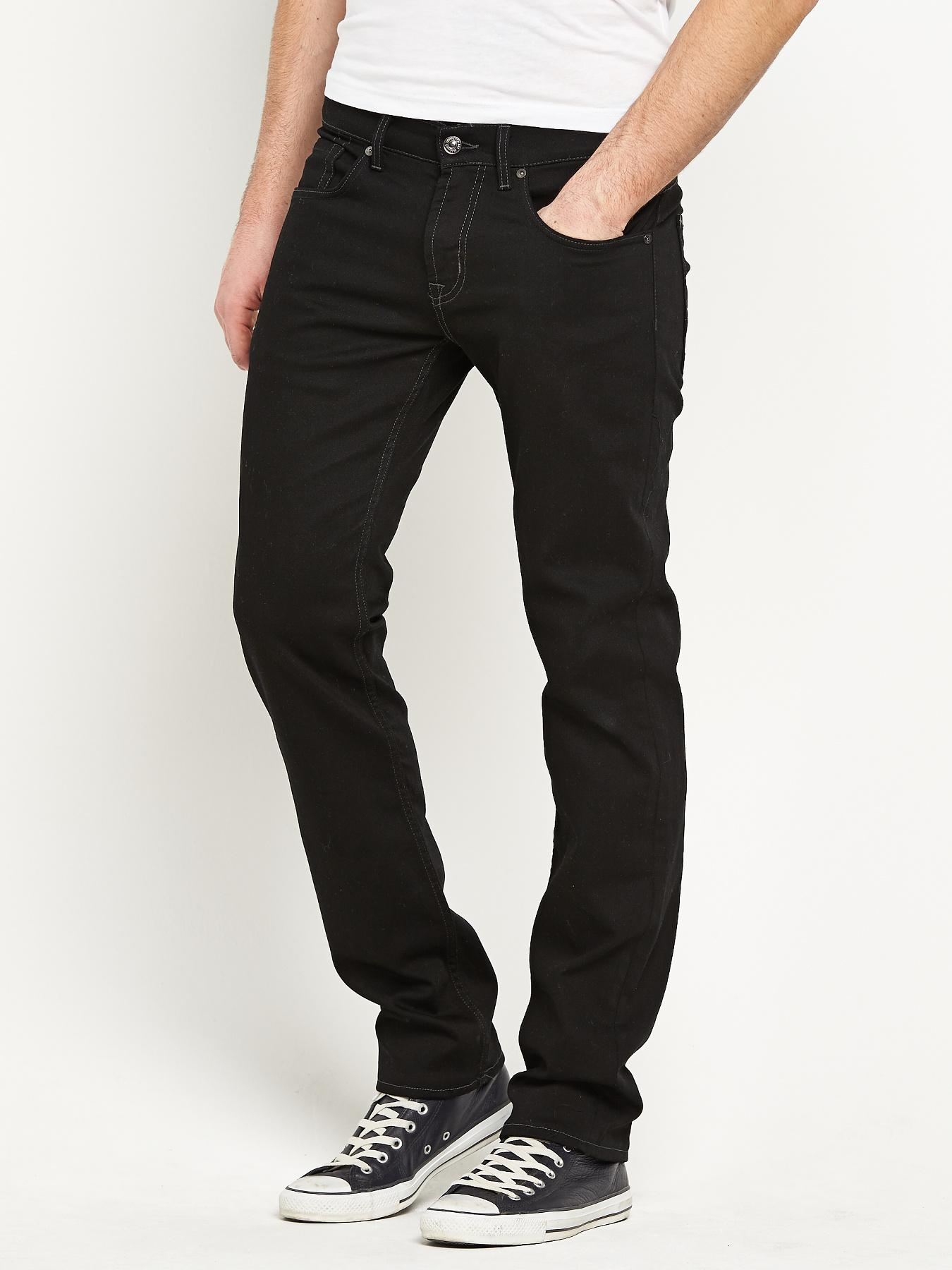 7 For All Mankind Mens Straight Jeans - Black, Black