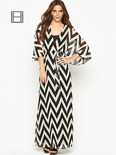 wallis-chevron-cape-sleeve-maxi-dress