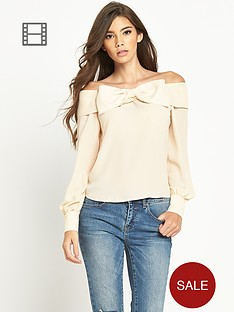 tfnc-bardot-bow-detail-long-sleeve-blouse