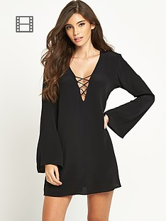 motel-lace-up-flare-sleeve-swing-dress