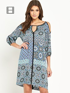 wallis-tile-print-cold-shoulder-dress