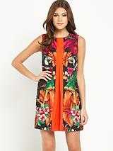 Tropical Pleat Tunic Dress