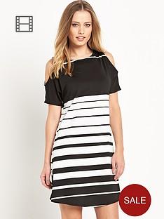 south-stripe-cold-shoulder-dress