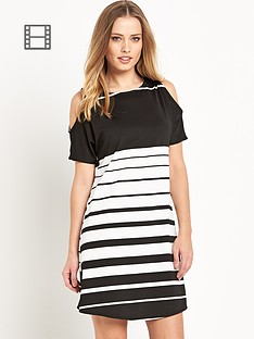 south-stripe-cold-shoulder-dress