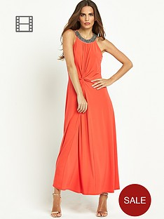 wallis-embellished-neck-knot-maxi-dress