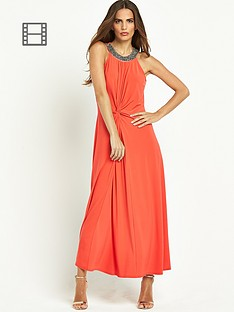 wallis-embellished-neck-knot-maxi-dress