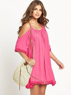 resort-crinkle-cut-out-shoulder-beachwear-dress