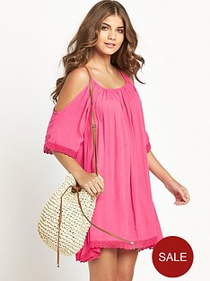 resort-crinkle-cut-out-shoulder-beachwear-dress