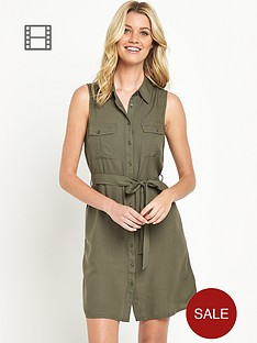 south-sleeveless-shirt-dress-khaki