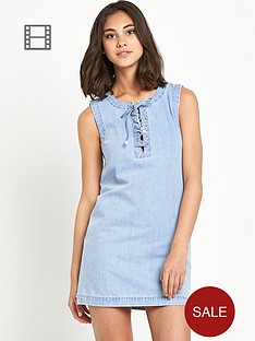 miss-selfridge-lace-up-t-shirt-dress