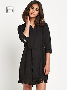 warehouse-fringed-lace-trim-dress