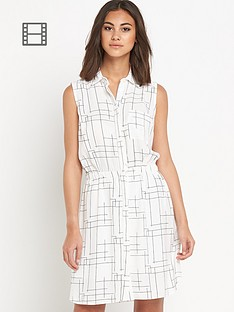 warehouse-check-print-shirt-dress