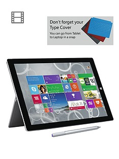 microsoft-surface-pro-3-intelreg-coretrade-i3-processor-4gb-ram-64gb-solid-state-drive-wi-fi-12-inch-tablet-and-optional-microsoft-office-personal-and-black-type-cover-grey