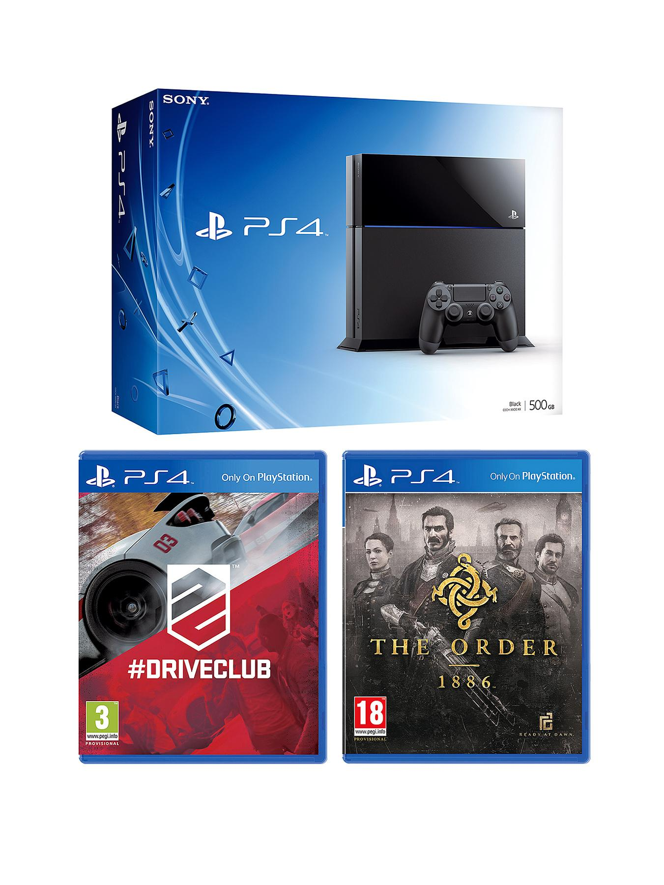 Playstation 4 Console with The Order: 1886, Driveclub and Optional 12 Months Playstation Plus or DualShock 4 Controller