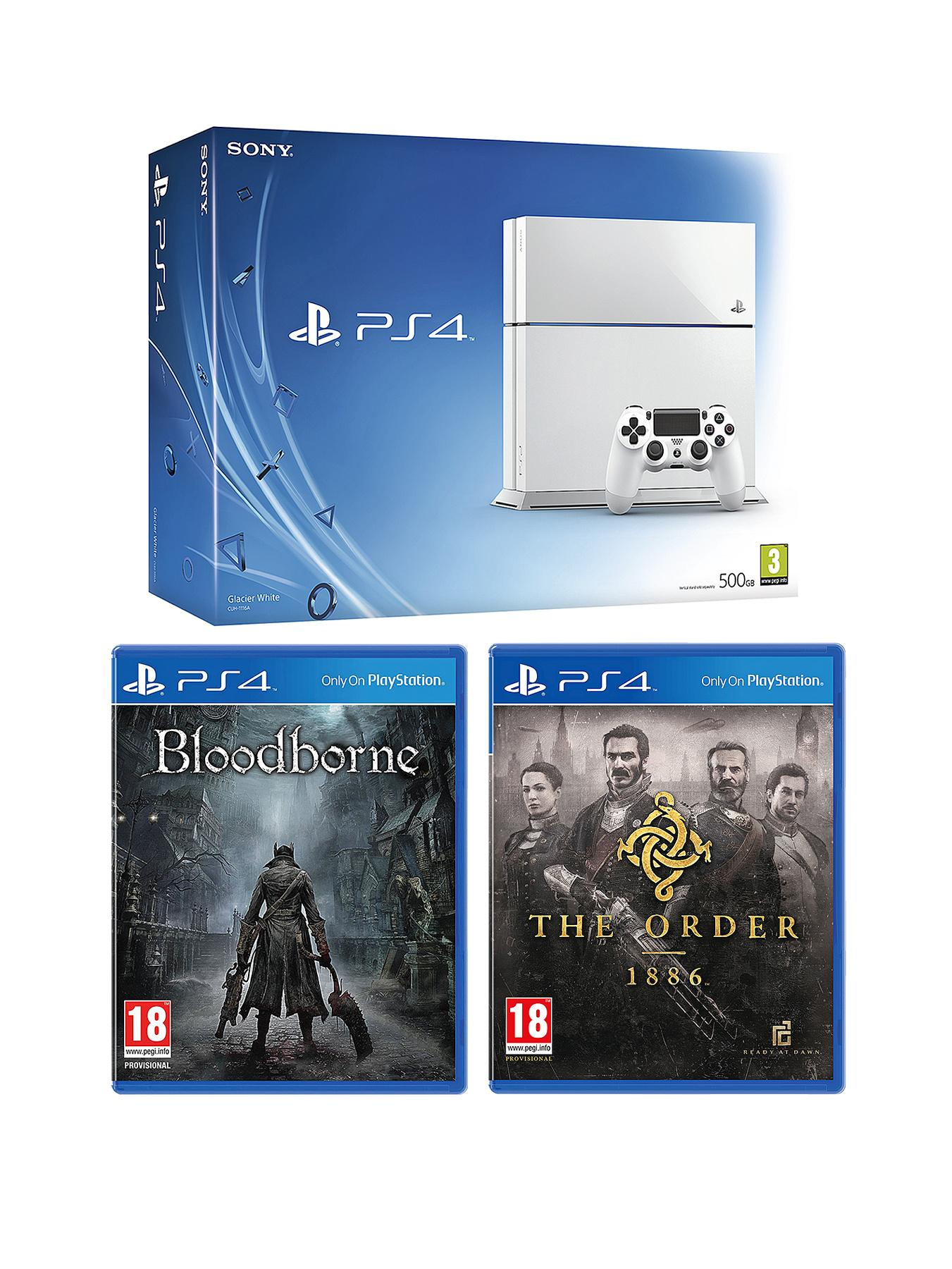 Playstation 4 White Console with The Order: 1886, Bloodborne and Optional 12 Months Playstation Plus or DualShock4 Controller