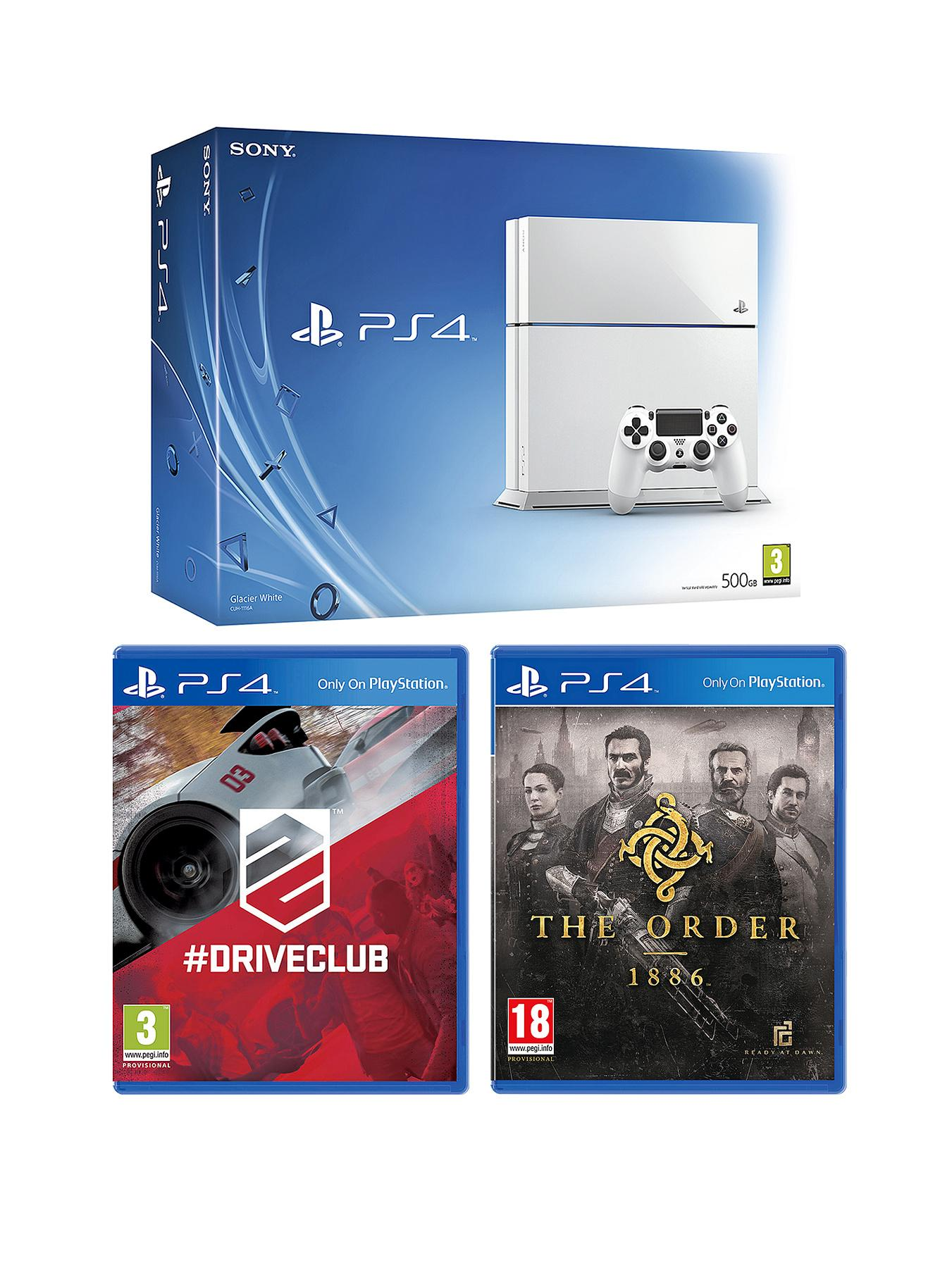 Playstation 4 White Console with The Order:1886, Driveclub and Optional 12 Months Playstation Plus or DualShock 4 Controller