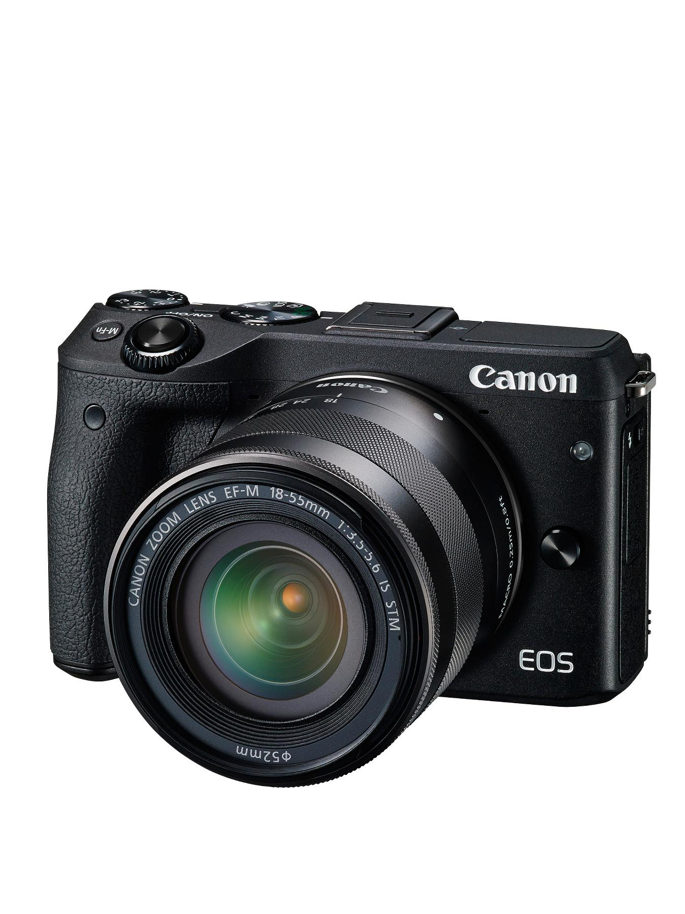Canon EOS M3 Camera with EF-M 18-55mm Lens - Black, Black